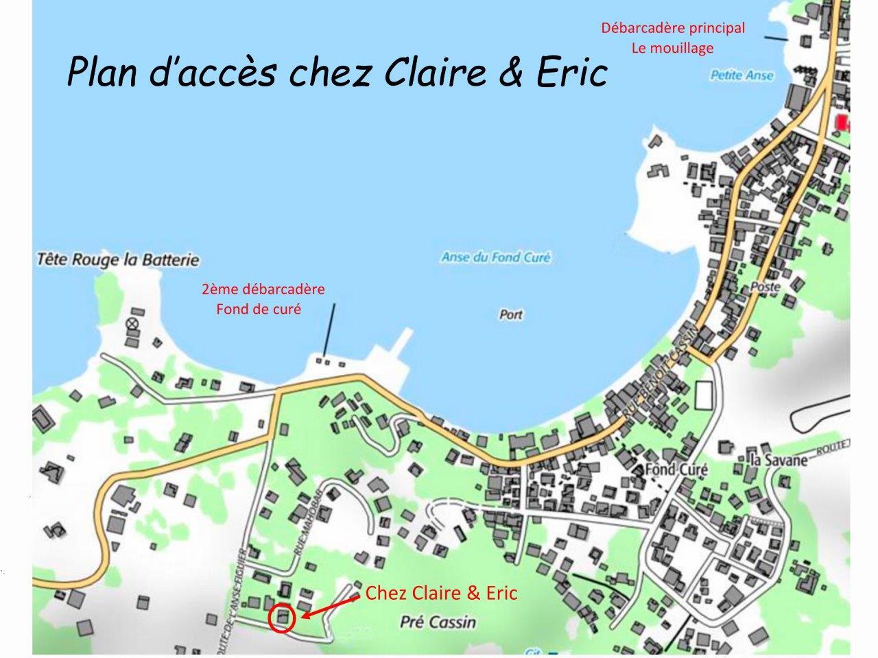 plan d'accèc chez Claire & Eric